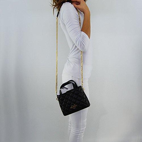 Borsa tracolla Love Moschino trapuntata oro nera