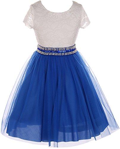 (Big Girl Cap Sleeve Lace Top Tulle Pearl Easter Graduation Flower Girl Dress (20JK45S) Royal 10)