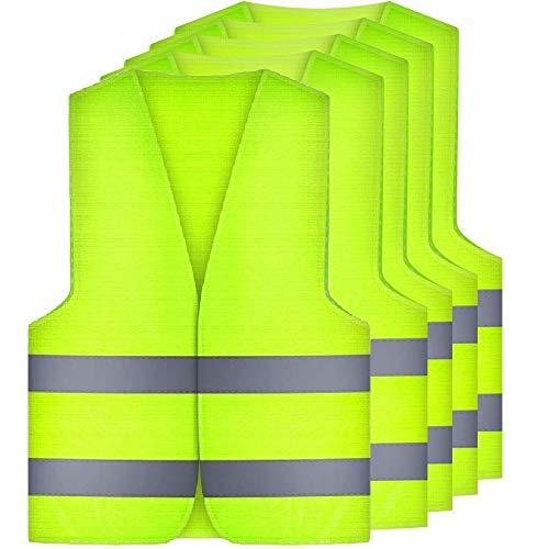 Amacoam Warnwesten Auto 5er Warnschutzweste Sicherheitswarnweste Sicherheitsweste mit 360 Grad Reflektierende Streifen und Klettverschluss für Autofahrern Arbeiter Warnweste Grün Standardgröße