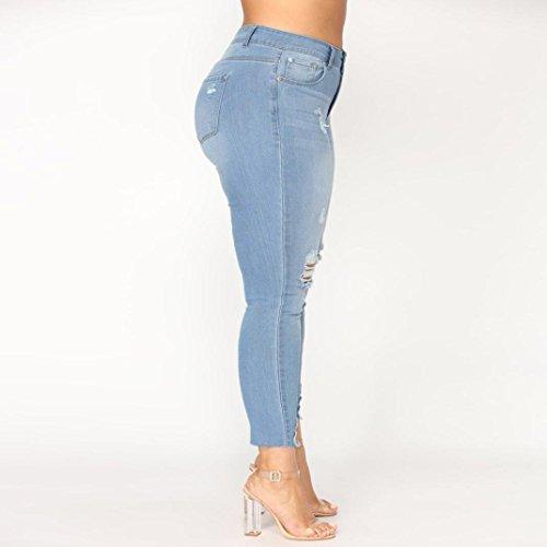 Stretch Skinny Jeans Size Pants Slim Ripped Haute Denim Pantalons conqueror Plus Femmes Taille Bleu HBFxw8Xq