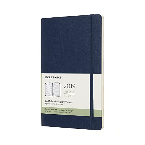 """Moleskine Classic Soft Cover 2019 12 Month Weekly Planner, Large (5"""" x 8.25"""") Sapphire Blue - Weekly Planner for Students & Professionals, for Organizing and Planning"""