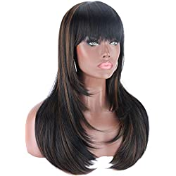 "Kalyss 24"" Heat Resistant Yaki Synthetic Wig with Hair Bangs Long Straight Layered Black Wigs with Brown Highlights Natural Looking Centre Parting Hair Replacement Wigs for Women"