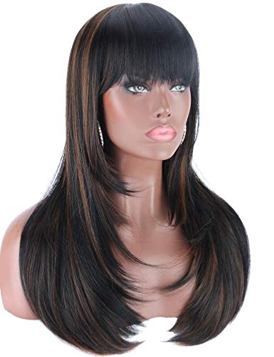 Kalyss Heat Resistant Yaki Synthetic Wig with Hair Bangs Long Straight Layered Black Wigs with Brown Highlights Natural…