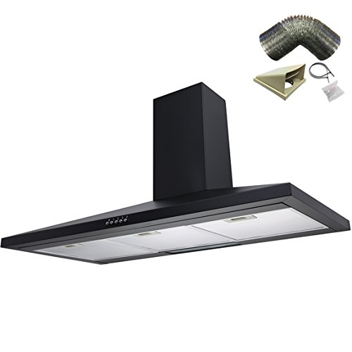 SIA CH101BL 100cm Black Chimney Cooker Hood Extractor Fan + 3m Ducting Kit
