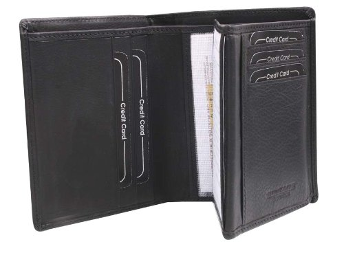 Avanco Men's Leather ID Card Holder 5.1 x 3.9 x 0.6 inch Black 14.01.625