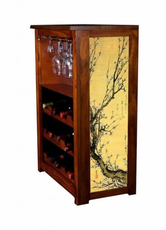 Kelseys Collection, Inc 633floweringplum 15 bottle wine cabinet with stemware holder Flowering Plum by Hiroshige