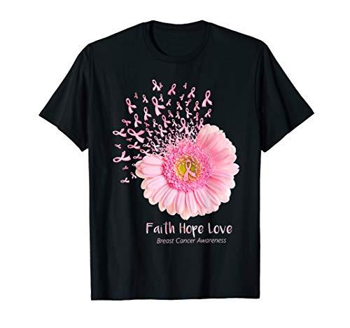 - Faith Hope Love Breast Cancer Awareness Flower Pink T-Shirt