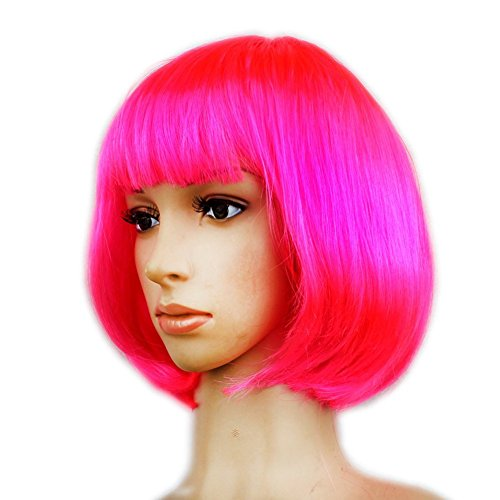 Dasbayla Women's Layered Bob Short Straight Wigs With Bangs Disco Rave Party Bob Wig (Party Wigs)
