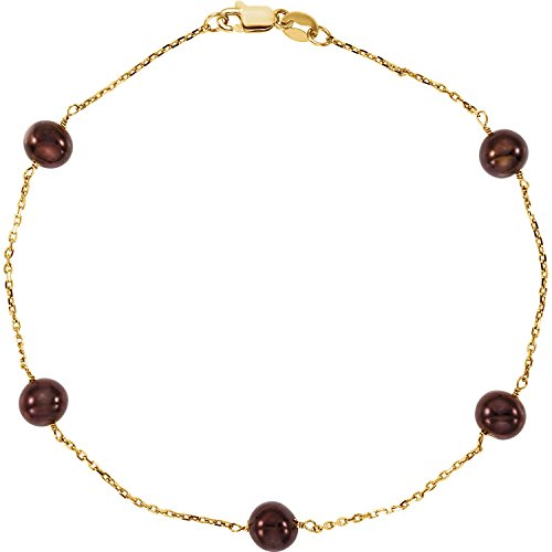 Freshwater Cultured Pearl Chocolate Dyed - 14K Yellow Gold Hypoallergenic 7.5 Inches Bracelet for Women