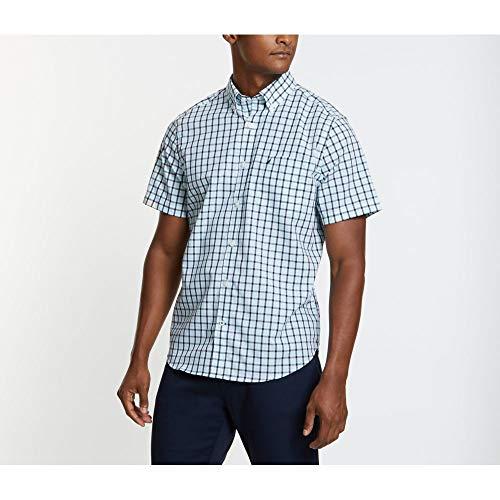 - Nautica Men's Wrinkle Resistant Short Sleeve Plaid Button Front Shirt, Bright Aqua, Large