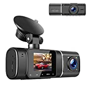 #LightningDeal TOGUARD Dual Dash Cam with IR Night Vision, HD 1080P Front and 720P Inside Cabin Dash Camera 1.5 inch LCD Screen 310° Wide Angle Dual Lens Car Driving Recorder for Uber Cars Truck Taxi