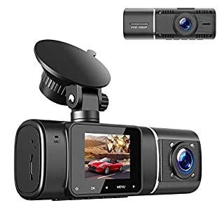 TOGUARD Dual Dash Cam with IR Night Vision, HD 1080P Front and 720P Inside Cabin Dash Camera 1.5 inch LCD Screen 310° Wide Angle Dual Lens Car Driving Recorder for Uber Cars Truck Taxi