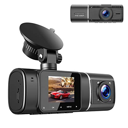 TOGUARD Dual Dash Cam with IR Night Vision, HD 1080P Front and 720P Inside Cabin Dash Camera, 1.5 inch LCD Screen 310° Wide Angle Dual Lens Car Driving Recorder for Uber Cars Truck Taxi