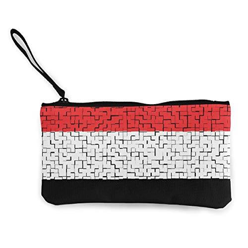 """Coin Purse Yemen Flag Puzzle Cute Travel Makeup Pencil Pen Case With Handle Cash Canvas Zipper Pouch 4.7""""X8.7"""""""