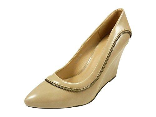 Pumps, Schuh ausgeglichen High Heels Damen Spitzmeißel lackiert, Beige - Beige - Taupe - Größe: 37