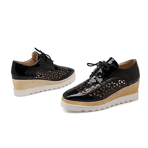 Amoonyfashion - Scarpe Stringate-scarpe Con Tacco In Pelle Verniciata Con Tacco A Punta Di Martello, Nere, 41