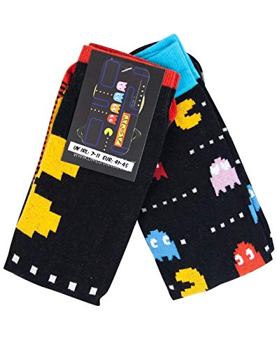 Mens 2pk Official Pac Man Socks featuring two different designs. Adults size 6-11