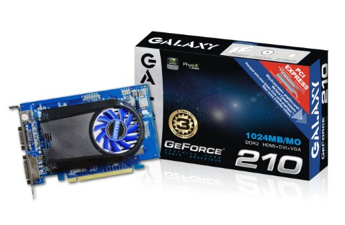 Galaxy GeForce 210 1 GB GDDR2 PCI Express 2.0 DVI/HDMI/VGA Graphics Card, 21GGE8HX3AUM