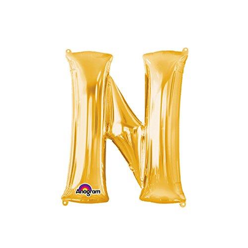 Regina 106482.7, Balão Metalizado Super Shape Letra Número Pack, Dourado