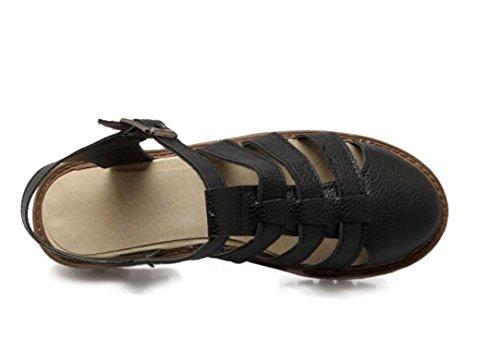 SHFANG Verano Señora Sandalias Retro Ocio Cómodo 34-43 Compras de Playa Turismo Estudiantes Tres Colores 3cm Black