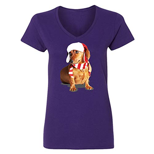Happy New Year Cute Brown Weiner Dog Costume V-Neck T-Shirts for Women(Purple,XX-Large) -