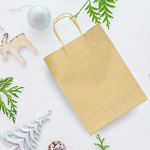 100 Bulk Brown Holiday Paper Gift Bags in Assorted Sizes with Handles for Kraft Christmas Gift Goody Bags, DIY Party Goodie Bags, Holidays Xmas Gift Party Favors Giving