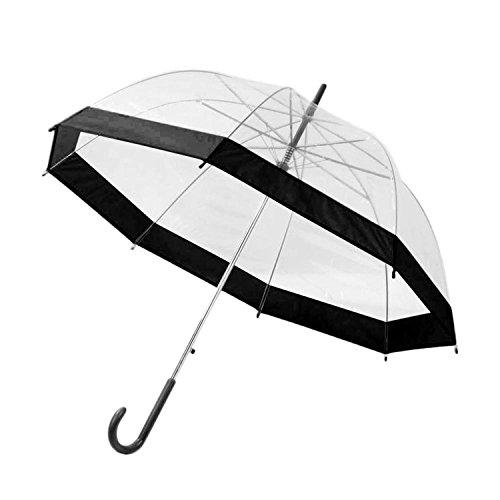 2 Colors Lovely Transparent Umbrella Rain Sunny Women Girls Ladies Long Handle Birdcage Dome See Through Umbrellas Drop Shipping black