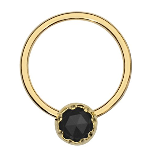 Septum Ring - Conch Piercing - Septum Jewelry - 14K Yellow Gold Filled 16G 8mm Hoop 3mm Black Onyx