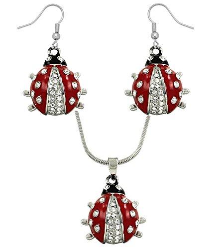 DianaL Boutique Silvertone Adorable Little Ladybug Charm Pendant Necklace and Earrings Set 21