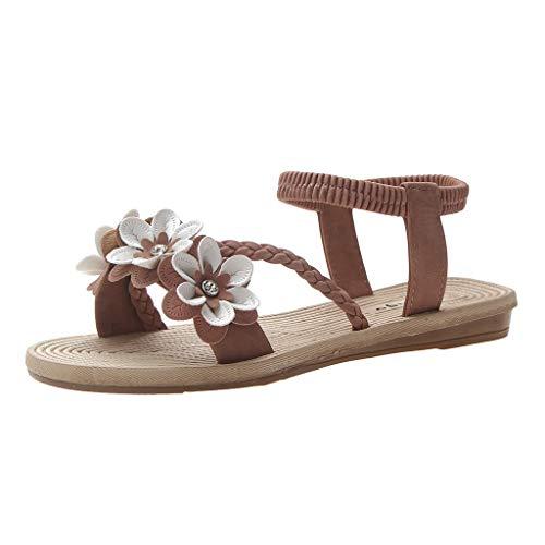 YuhooSUN Women's Summer Bohemian Flower Weave Flat Beach Sandals Ankle Buckle Slingback Flat Bottom Roman Shoes Pink