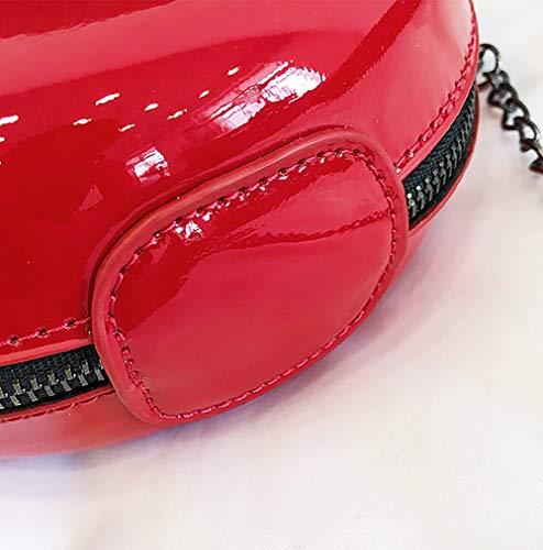 Verano Bolso Mujer Red Qiulv Cadena Moda Forma Bolso Ratón Totalizador Black Hombro Crossbody PU wwIvZOPq