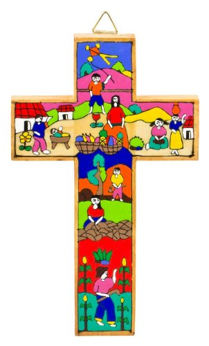 Baptism cross with colourful illustration