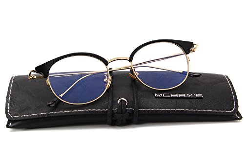 MERRY'S Women Retro Cat Eye Optical Frames Clear Lens Glasses S2066 (Gold, - Frames Luxury Optical