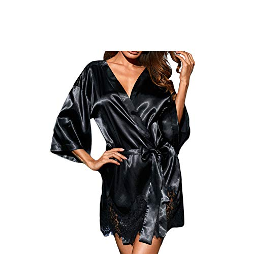 New deep V-Neck Seven-Point Sleeves Hem Lace Robes with Belt Sexy Nightdress Female 31097,Black,L