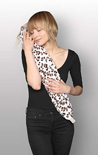 Kanguru George Wärmflasche Leopard-creme, braun mit Fach für Handy oder Brille und praktischen Bändern zur Fixierung am Bauch, Rücken oder Nacken