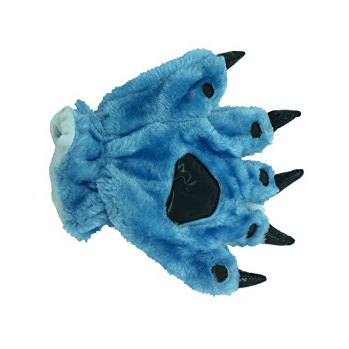 Animal Paw Calw Plush Funny Halloween Costume Hand Gloves Blue L ()