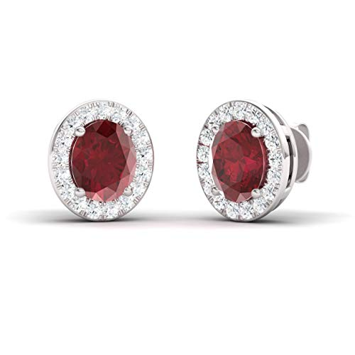 Diamondere Natural and Certified Oval Cut Ruby Halo Diamond Earrings in 14K White Gold | 1.08 Carat Earrings for ()