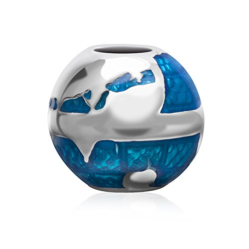 Blue Earth Globel Charms Solid 925 Sterling Silver Travel Around the World Bead for Pandora Bracelet Charms](Travel Bead For Pandora Bracelet)
