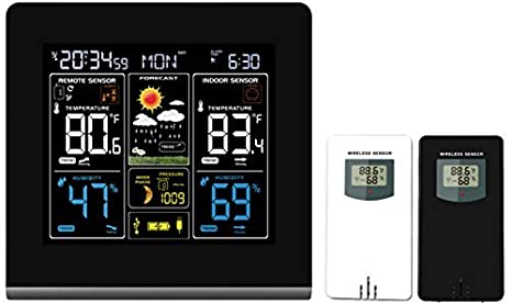 Thinkgizmos Wall-mountable Wireless Weather Station with Colour High Definition Display Alarms TG672 from Weather Forecasting//Temperature Display and Alerts Plus 2 sensors USB Charging Port
