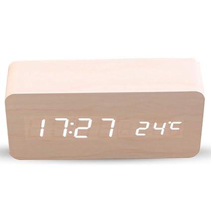 Haofy Despertador Digital, Reloj Despertador de Madera Electrónico con 3 Niveles Brillo y LED de