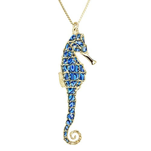 (Gold Plated Sterling Silver Seahorse Necklace Blue Polymer Clay Handmade Jewelry, 16.5
