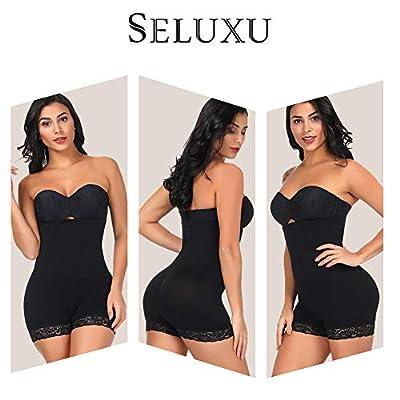 SELUXU Womens Shapewear Tummy Control Shorts High-Waist Panty Body Shaper Bodysuit