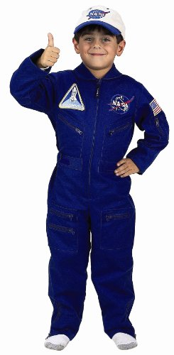 Flight Suit Costumes Men (Aeromax Jr. NASA Flight Suit, Blue, with Embroidered Cap and official looking patches, size 8/10.)