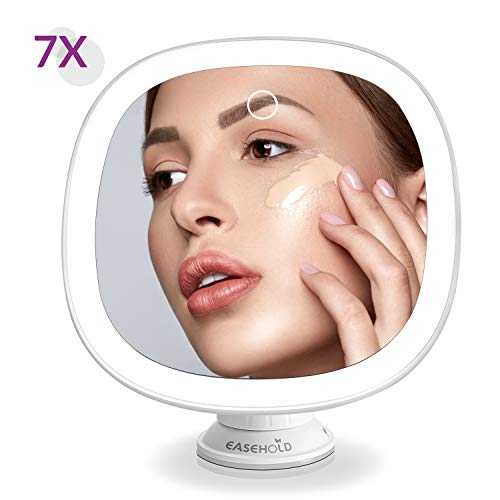 EaseHold Vanity Makeup Mirror with Natural LED Lights 7X Magnification Touch Button Rechargeable Adjustable Brightness