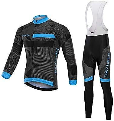 SKYSPER Ciclismo Maillot Hombres Jersey + Pantalones Largos Culote ...