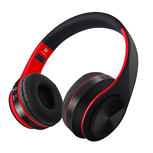SKY SINCERITY Bluetooth V4.2 Over Ear Headphone Comfortable Noise Isolation Earpads, Lightweight & Foldable Wired/Wireless Stereo Headset with mic for Cell Phone (Red)
