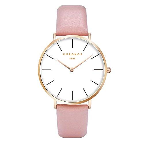 Fashion Classic Unisex Women Men Quartz Watch PU Leather Strap Anolog Ladies Gents Wrist Watch, Pink-Rose Gold (Unisex Pink Watch)