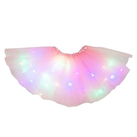 VOVOL - Falda tutú con luz LED para niñas pequeñas, color neón ...