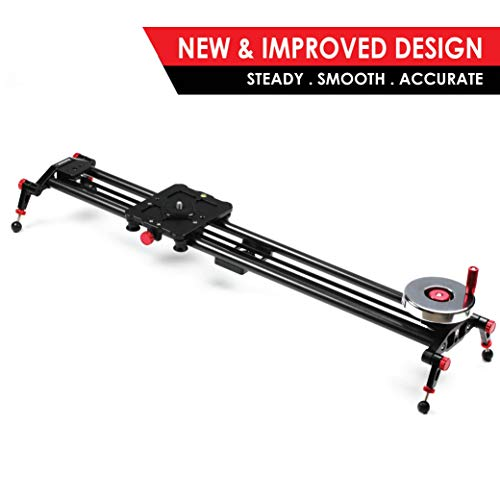 "Kamerar 31"" Fluid Motion Video Slider: flywheel, counterweight, light carbon fiber rails, adjustable legs, dslr camera/camcorder stabilization track, tripod mount ready, stabilizer for filming"