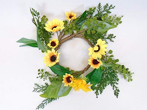 JumpingLight Yellow Sunflowers Candle Ring 14'' Centerpiece 9913YL Artificial Flowers Wedding Party Centerpieces Arrangements Bouquets - Ring Candle Calla Lily